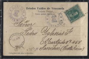 VENEZUELA   (PP2604B)   1906 BOLIVAR 5CX2  ON PPC TO COSTA RICA ,  VIA PANAMA