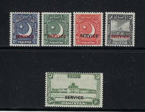 PAKISTAN SCOTT #O27-O31 1949-50 OVERPRINTED OFFICIALS- MINT EXTRA LIGHT HINGED