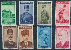 TURKEY/1939 - 1st YEAR OF ATATURK'S DEATH COMPLETE SET, MNH