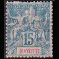 MAYOTTE 1892 - Scott# 7 Goddess 15c LH