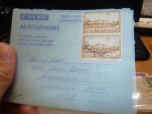 Tonga 5d x 2 Aerogramme to USA (74bef)