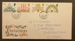 Great Britain First Day Cover Christmas 1980