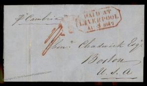 England Britain 1847 Boston MA Ship Cambria Liverpool USA Transatlantic St 77668