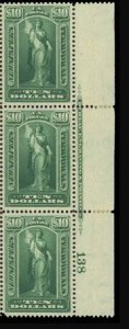 PR122 Newspapers Periodicals $10, Plate of 3, MNH, OG, Plate #, SCV $235