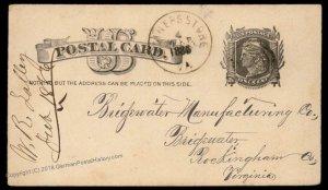 Virginia 1886 Koiners Store VA DPO Cancel Helbock R5 Cover 92472