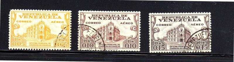 VENEZUELA #C671-673  1958  POST OFFICE    F-VF USED
