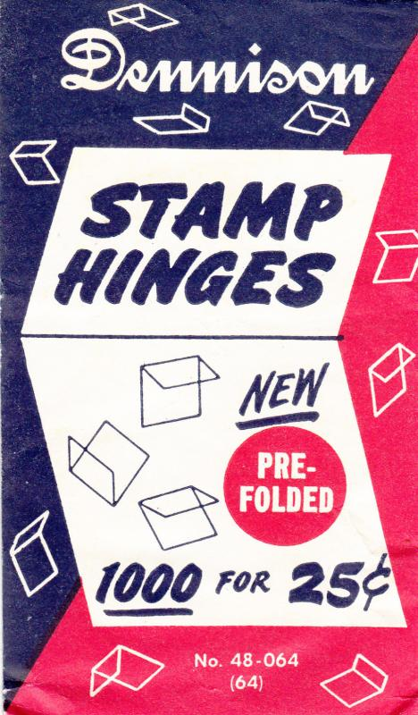 1 PACK OF THE 2ND BEST STAMP HINGES EVER MADE DENNISON FOLDED HINGES 1000
