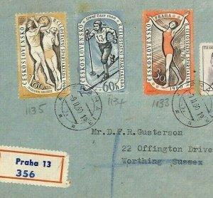BU101 1960 Czechoslovakia SPARTACIST GAMES Prague Airmail Cover SKIING SPORTS