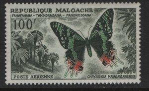 MALAGASY  C64 MINT HINGED, SLIGHT THIN,  BUTTERFLY 1960