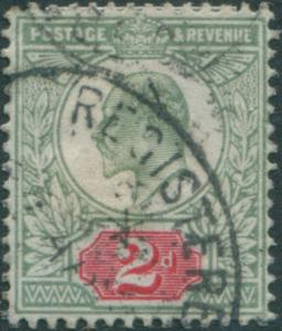 Great Britain 1902 SG227 2d pale grey-green and carmine-red KEVII FU