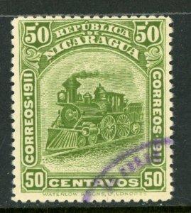 Nicaragua 1912 Bluefields Waterlow Train 50¢ Green Scott 1L120 VFU W480