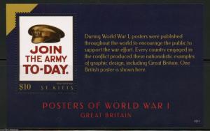 ST. KITTS  2015 POSTERS OF WORLD WAR I  SOUVENIR SHEET II  MINT NH