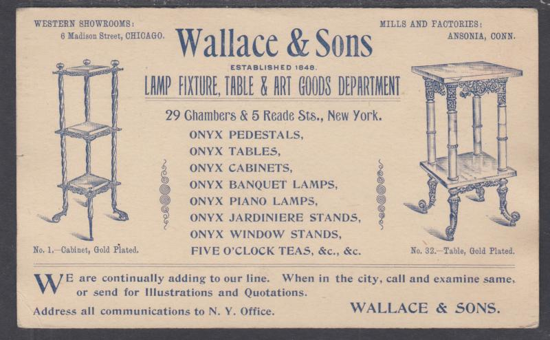 US Sc UX10 used 1893 Illustrated Advertising Postal Card, Wallace & Sons Lamps