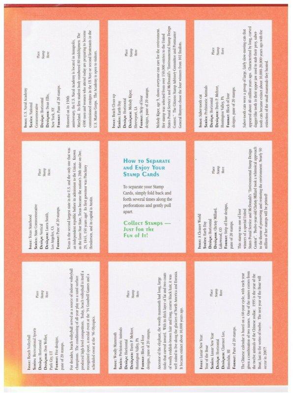 MNH  1995 USPS Stamp Cards(25)  Free S/H
