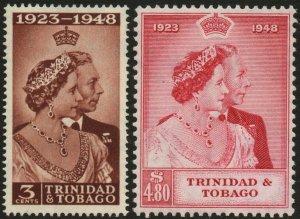 TRINIDAD & TOBAGO-1948 Royal Silver Wedding Set Sg 259-260 L MOUNTED MINT V48605