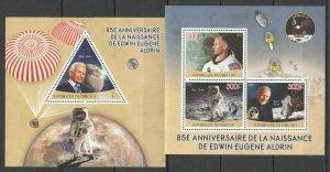 PE614 2015 DJIBOUTI SPACE APOLLO 11 85TH ANNIVERSARY BUZZ ALDRIN KB+BL MNH