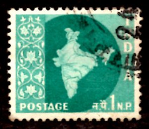India 1np Map of India 1960 SG.399, Sc.302 Used (#04)