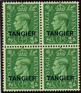MOROCCO AGENCIES TANGIER-1944 ½d Pale Green  An unmounted mint block of 4 Sg 251