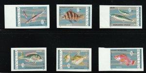 North Viet Nam - 1967 -  Sc 463 - 468 - Fish - Imperforation - MNH