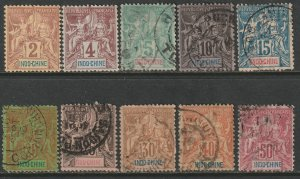 Indochina 1892 Sc 4-6,8,10,12-3,15-7 partial set used/MNG