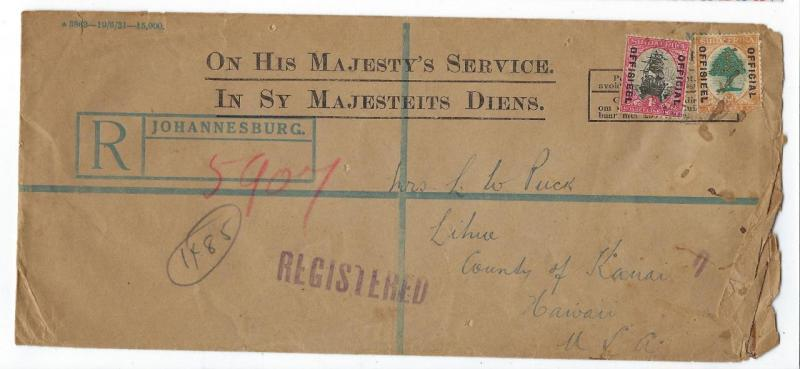 1932 South Africa To Hawaii Registered Official Cover (QQ116)