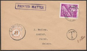 NORTH BORNEO TO PERAK MALAYA 1954 cover with 8c postage due at Kampar.......F803