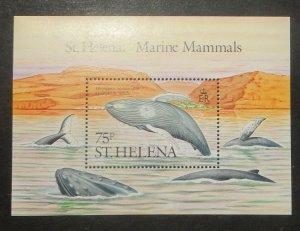 St. Helena 487. 1967 Humpbacked Whales souvenir sheet, NH
