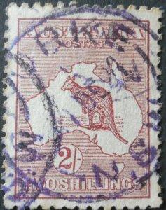 Australia 1923 Two Shillings Kangaroo with BOURKE in violet postmark