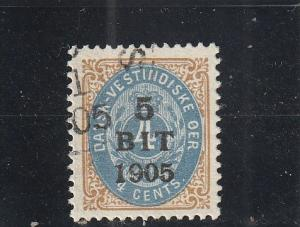 Danish West Indies  Scott#  40  Used  (1905 Surcharged)
