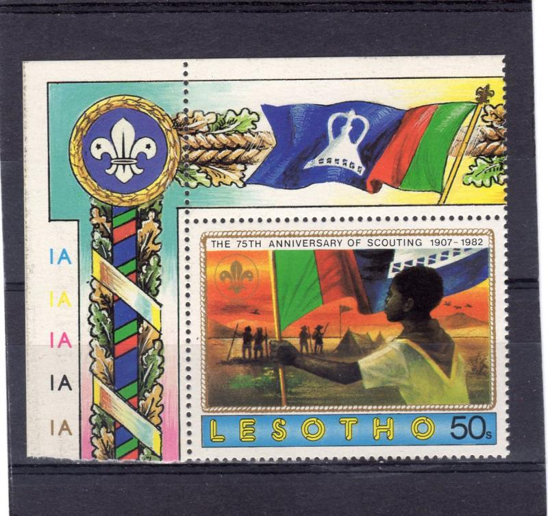 Lesotho 1982 Sc#360 Scouting Year Holding Flag   (1) MNH VF