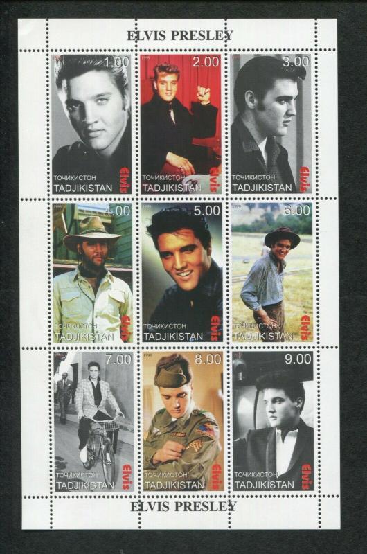 Tajikistan Commemorative Souvenir Stamp Sheet - Musician Elvis Presley