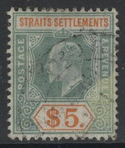 MALAYA STRAITS SETTLEMENTS SG138a 1908 $5 DULL GREEN & BROWN-ORANGE CHALKY USED