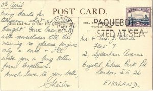 1963 SOUTHAMPTON PAQUEBOT POSTED AT SEA South Africa RMMV WINCHESTER CASTLE