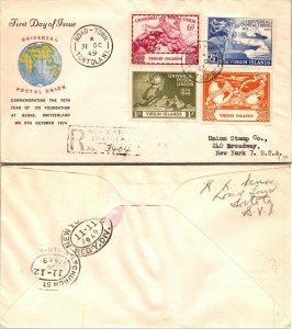 1949 VIRGIN ISLAND FIRST DAY COVER SET TO U.S., 1949, UPU