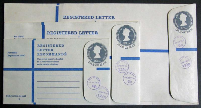 Isle of Man Registered Letter Lot of 3 Uprated; Unused