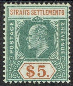 STRAITS SETTLEMENTS 1904 KEVII $5 WMK MULTI CROWN CA CHALK PAPER