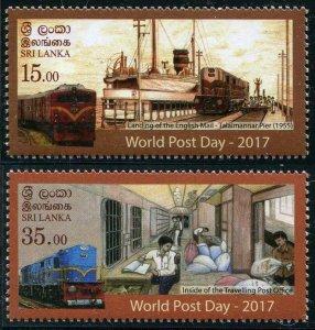 HERRICKSTAMP NEW ISSUES SRI LANKA Sc.# 2116-17 World Post Day (Trains, Ship)