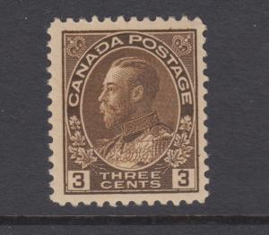 Canada Sc 108 MLH. 1918 3c dark brown KGV Admiral, wet printing, gum crease