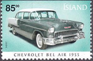 Iceland # 1016a mnh ~ 85k Car - 1955 Chevrolet Bel Air