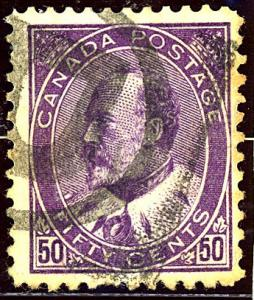 Canada Sc 95 (1908) Deep Purple Used King Edward VII Very Fine Cat.Value $175.00