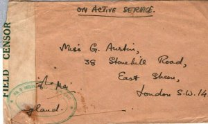 CEYLON WW2 Cover Colombo INDIAN FORCES FPO.74 Green Oval Censor GB 1942 FC42