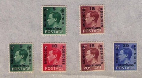 MH MOROCCO AGENCIES Sc #78-81 LOT OF SIX VERY FINE