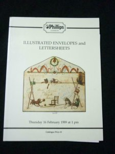 PHILLIPS AUCTION CATALOGUE 1989 ILLUSTRATED ENVELOPES AND LETTERSHEETS