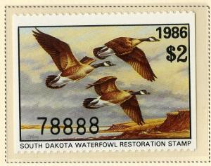 US SD4 SOUTH DAKOTA STATE DUCK STAMP 1986 MNH SCV $8.00 BIN $5.00