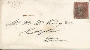 GB QV 1855 COVER PENNY RED STAR FROM LONDON TO AXMINSTER, DEVON PMK! 9 IN DIAMND