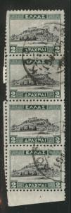 Greece Scott 367 used 1933 stamp strip of 4