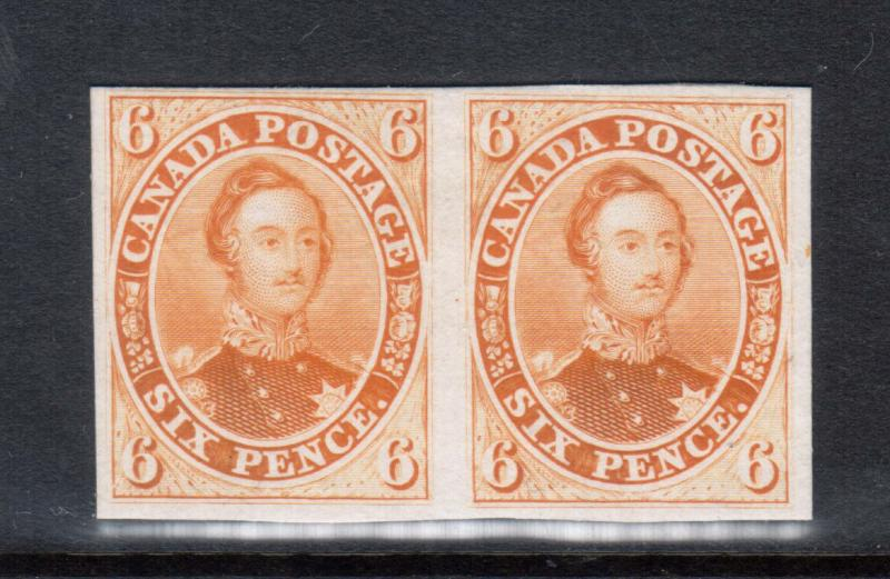 Canada #2TCii Very Fine Proof Pair In Orange Yellow India Paper On Card