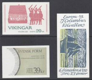 Sweden Sc 1808a, 1948a, 2081a, 1990-97 Intact booklets, 3 different, VF