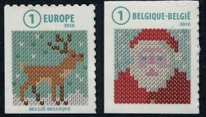 HERRICKSTAMP NEW ISSUES BELIGUM Sc.# 2816a-17a Christmas 2016 Self-Adh. Booklets