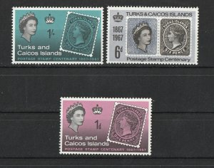 Turks & Caicos Isl. MNH 172-4 Stamps On Stamps 1967
